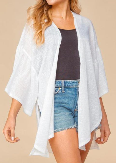 White Bell Ruffle Sleeve Kimono -  Haptics - beach, Beach Wear, Blouse, Clothes, Kimono, made in usa, Open Front, Plus, Ruffle Sleeve, Shirt, Spring, Summer, Wardrobe Essentials, White, Women, Women's Clothing - Classy Cozy Cool