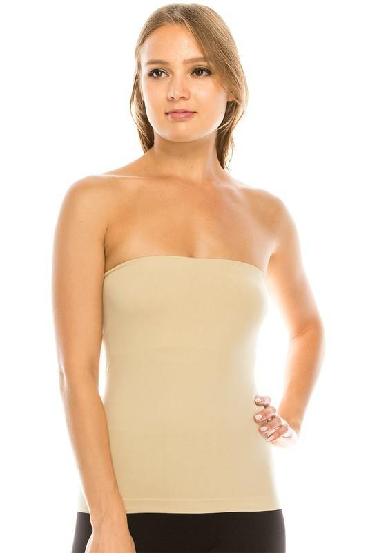 Tube Top with built in Shelf Bra - Nude - Classy Cozy Cool - Tops -  Idea - Built in Bra, made in usa, Plus, Shelf Bra, soft, Spring, Summer, Tan, Tube Top, Wardrobe Essentials