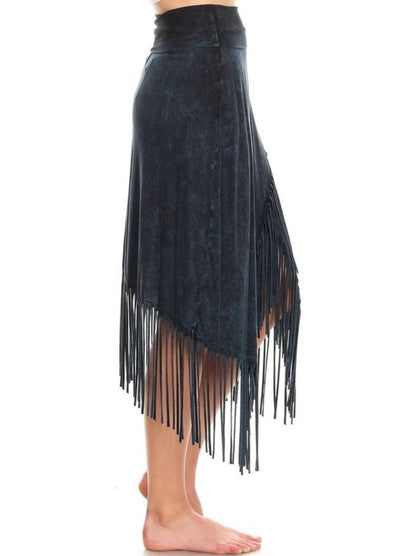 Navy Fringe Boho Fringe Skirt - Classy Cozy Cool - Dresses & Skirts -  T-Party - beach, Beach Wear, Bohemian, BoHo, Loungewear, made in usa, Navy, Spring, Summer, Women's Clothing