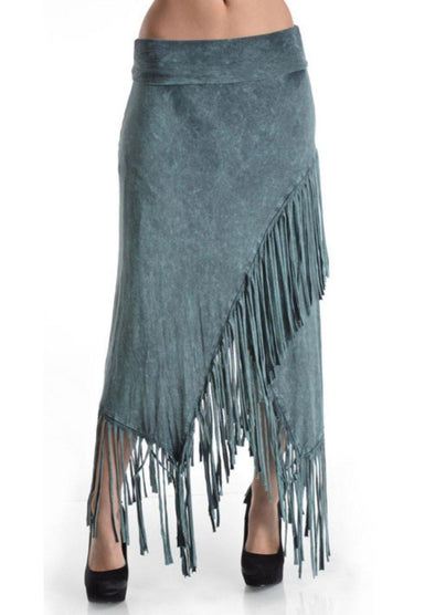 Sage BoHo Fringe Skirt/Dress Soft Stretch - Classy Cozy Cool - Dresses & Skirts -  T-Party - beach, Beach Wear, Bohemian, BoHo, Fringe, made in usa, soft, Spring, Summer, tie dye, Women's Clothing