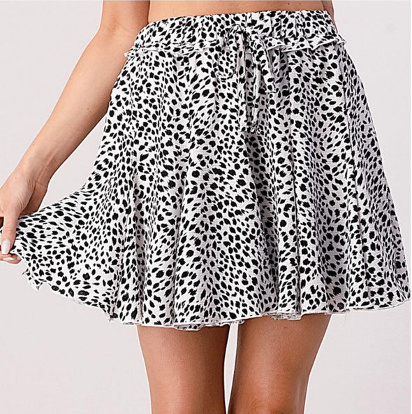 Black and White Animal Print Flare Skirt - Classy Cozy Cool - Dresses & Skirts -  Pixi and Ivy - Animal Print, Best Dressed, Black, Featured, Flare Skirt, made in usa, Mini Skirt, Pattern, Spring, Summer, vacation