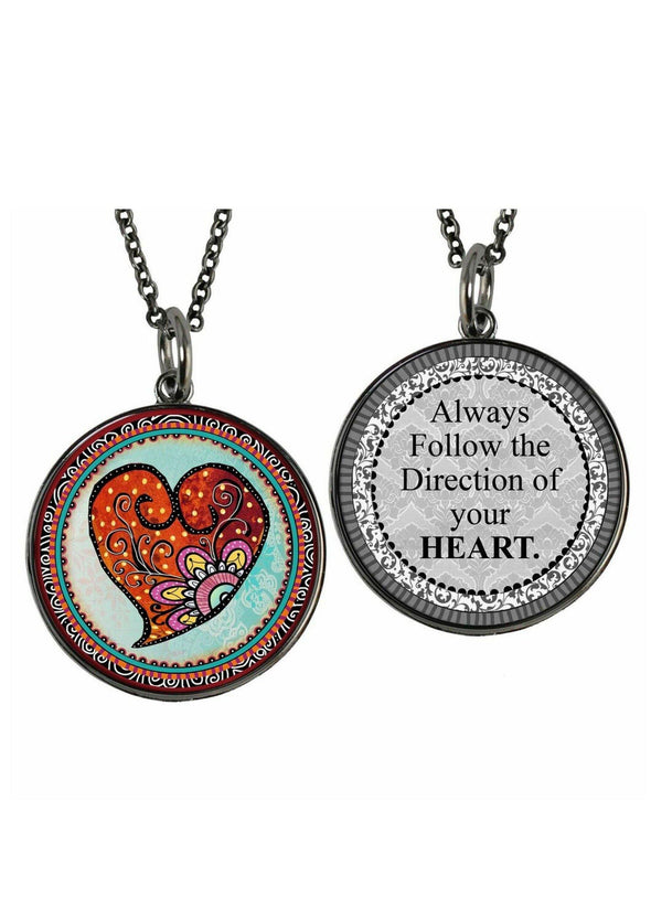 Follow Your Heart Reversible Inspirational Pendant - Classy Cozy Cool - Fashion Jewelry -  Spirit LaLa - Gift Idea, Heart Pendant, Inspirational quote, Jewelry, jewelry made in USA, Necklace, Pendant, Statement Necklace