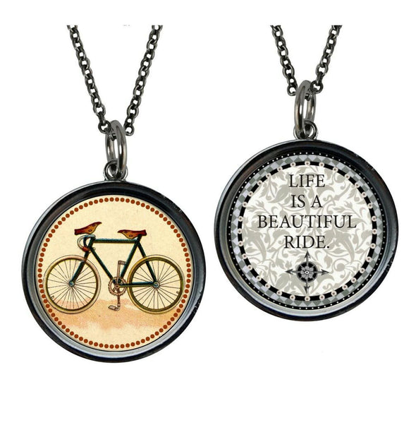 Carded Antique Bicycle Inspirational Reversible Medium Circle Necklace - Classy Cozy Cool - Fashion Jewelry -  Spirit LaLa - Gift Idea, Inspirational quote, Jewelry, jewelry made in USA, made in usa, Necklace, Pendant