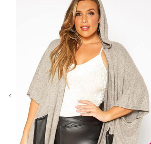 Hooded Half Sleeve Poncho Plus Cardigan with Faux Leather Pockets -  CY - Black, Blouse, Cardigan, Clothes, made in usa, Plus, Poncho, Shirt, soft, Spring, Wardrobe Essentials, Women, Women's Clothing - Classy Cozy Cool