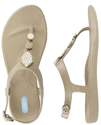 Oka-B Carin T-Strap Sandal - Chai -  Oka-B - Beach Wear, Black, Bling, Carin Chai, Featured, Flat Sandal, Flip Flops, Made in America, made in usa, Rhinestone, Shoes made local, Spring, Summer, Thong, Women Shoes - Classy Cozy Cool
