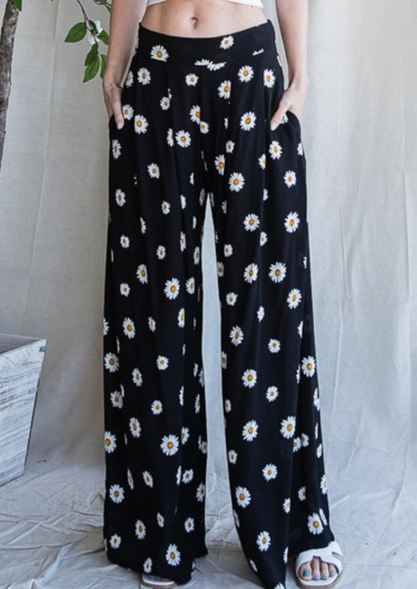 Wide Leg Daisy Palazzo Pants -  Jade by Jane - Best Dressed, Black, Bohemian, BoHo, Bottoms, Clothes, Daisy, Featured, Floral Print, made in usa, Palazzo Pants, Pants, Spring, Summer, vacation, Women - Classy Cozy Cool