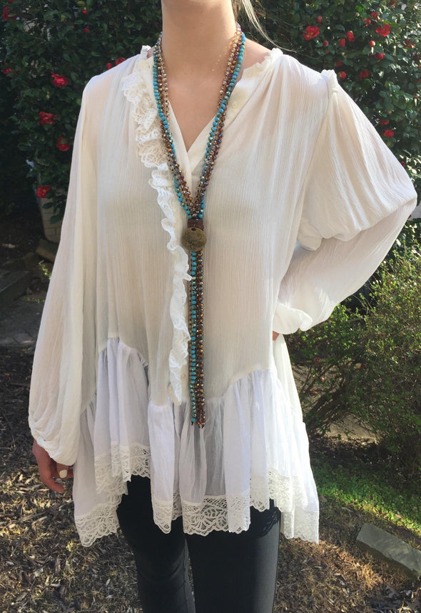 Fabulous Beaded Long Statement Necklace - Classy Cozy Cool - Fashion Jewelry -  Carol Su - Beaded, BoHo, Featured, Jewelry, made in usa, Natural Stone, Necklace, Spring, Summer, Turquoise
