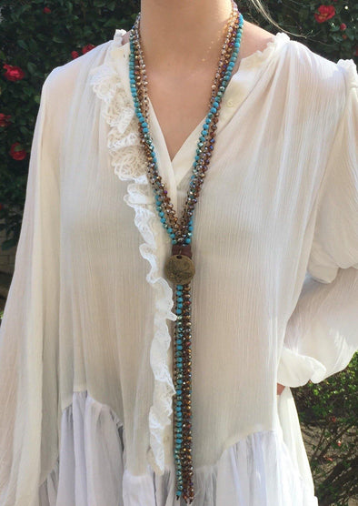 Fabulous Beaded Long Statement Necklace -  Carol Su - Beaded, BoHo, Featured, Jewelry, Made in America, made in usa, Made Local, Natural Stone, Necklace, Pendant, Spring, Summer, Turquoise, Women - Classy Cozy Cool