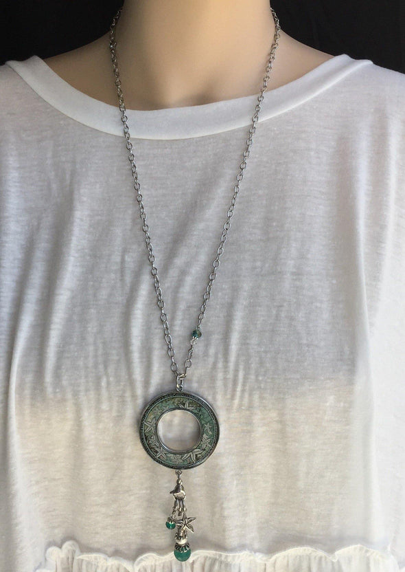 Star Fish Open Circle Dangle Necklace - Classy Cozy Cool - Fashion Jewelry -  Spirit LaLa - Gift Idea, Inspirational quote, Jewelry, jewelry made in USA, made in usa, Necklace, Pendant, Star Fish, Statement Necklace