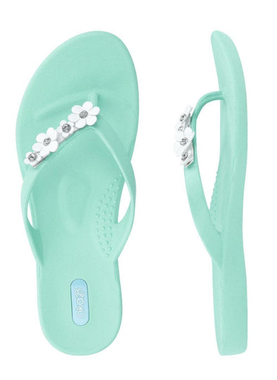 Oka-B Loren Sea Glass Sandals with White Flower Detail -  Oka-B - beach, Beach Wear, Featured, Flip Flops, Flower, Loren, Made in America, made in usa, Sandal, Sandals, Sea Glass Green, Shoes, Shoes made local, Spring, Summer, White, Women, Women Shoes - Classy Cozy Cool