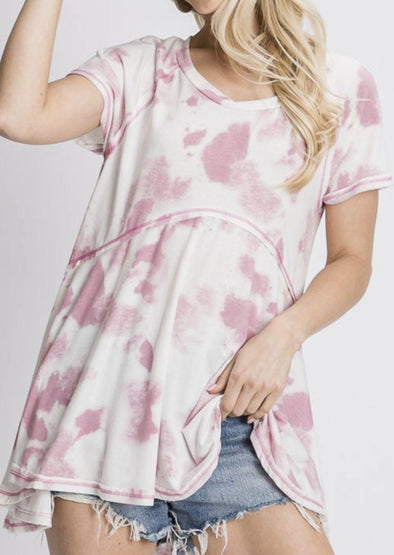 Pink & White Reverse Stitched Tunic -  Jade by Jane - Blouse, Clothes, Lounge, Loungewear, made in usa, pink, Shirt, soft, Spring, Summer, tie dye, Tunic, Women, Women's Clothing - Classy Cozy Cool