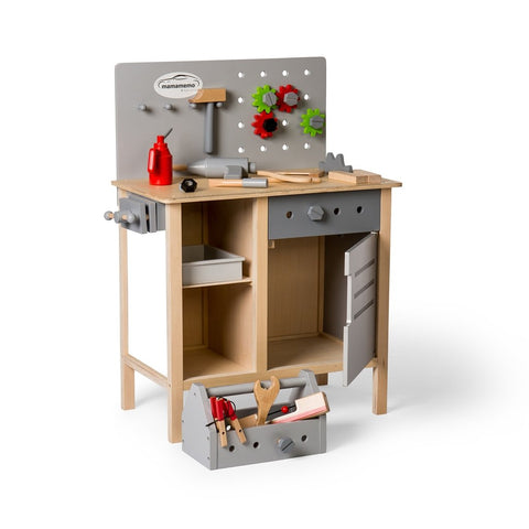 Wooden Workbench including toolbox & accessories - Grey