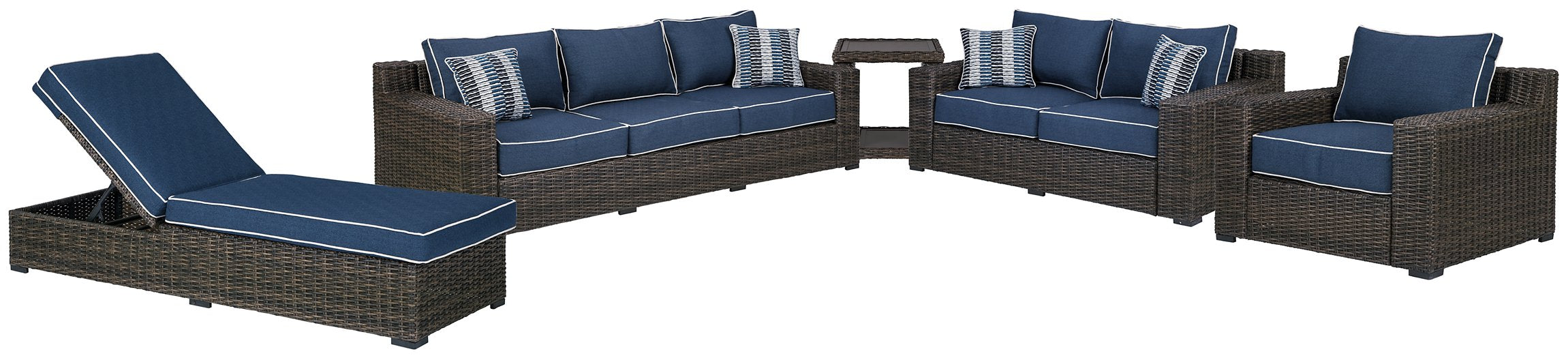 Grasson Lane Signature Design By Ashley 5-Piece Outdoor Sofa and Loveseat with Lounge Chairs and End Table