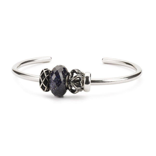 Blue Goldstone Bangle silver