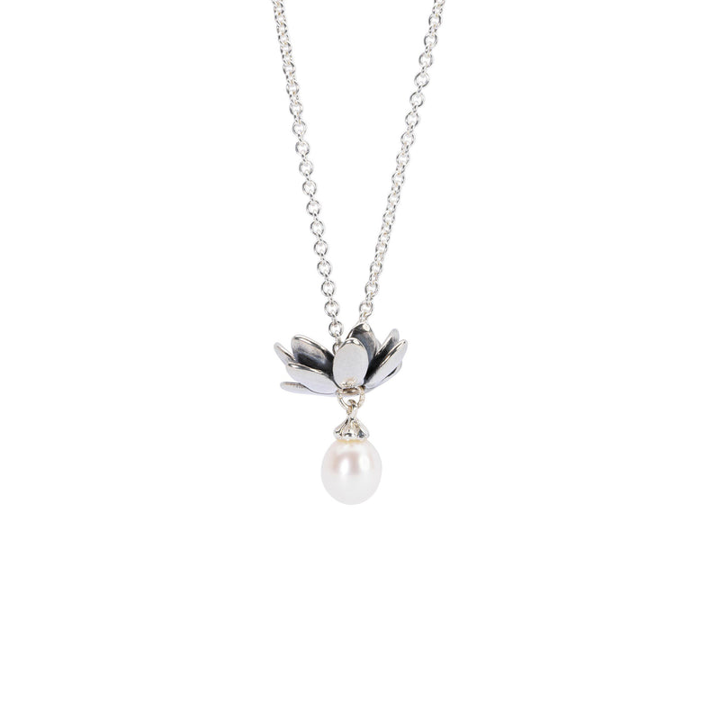 Fantasy Necklace With White Pearl, Polished sterling silver