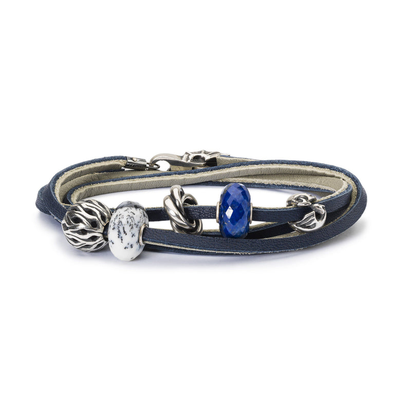 Leather Bracelet Dark Blue/Light Grey