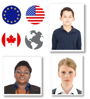 collage of international passport photos and EU US and canadian flags