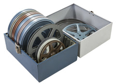 box with film reels of old home movies