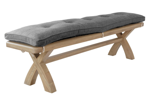 Hereford 2m Bench Cushion Only – Grey Check