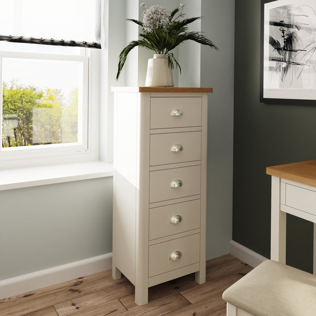 Ludlow Light Grey 5 Drawer Narrow Chest of Drawers