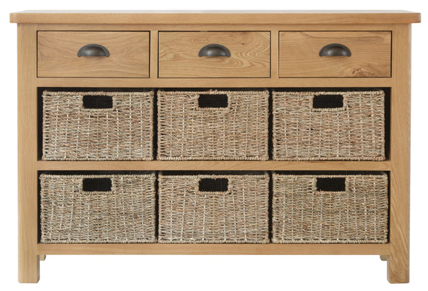 Ludlow Medium Finish 3 Drawer 6 Basket Unit