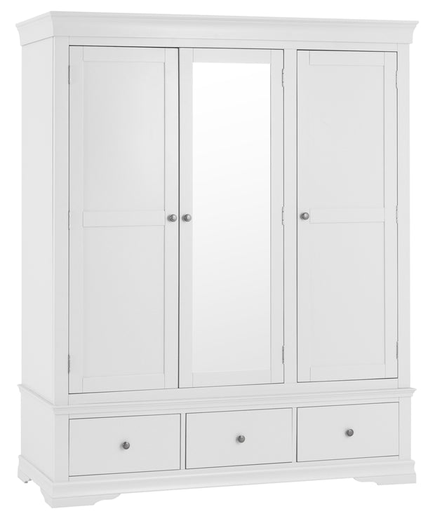 Swindon White 3 Door 2 Drawer Wardrobe
