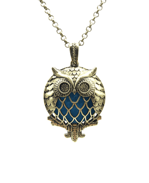 Owl bronze necklace