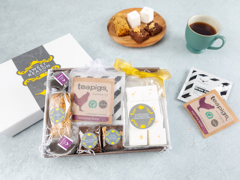 Our Coffee and Treats Box combines our favourite bakes, Marshmallows, Teapigs...