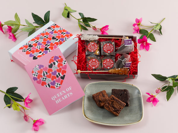 'Queen of Hearts' Vegan Brownies Afternoon Tea for Two Gift Box