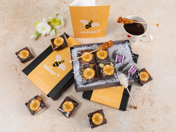 'Bee Mine' Vegan Brownies Afternoon Tea for Two Gift Box