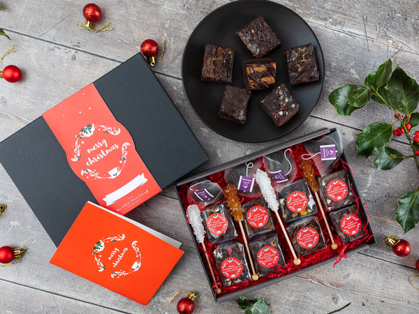 Christmas Vegan Brownies Afternoon Tea for Four Gift Box