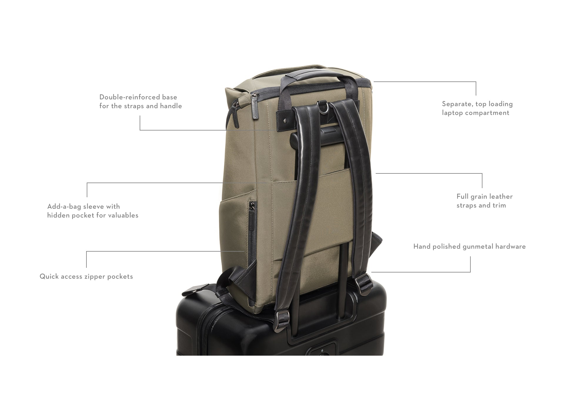 Stuart & Lau Capstone Backpack with add-a-bag feature _ Olive Men's Backpack