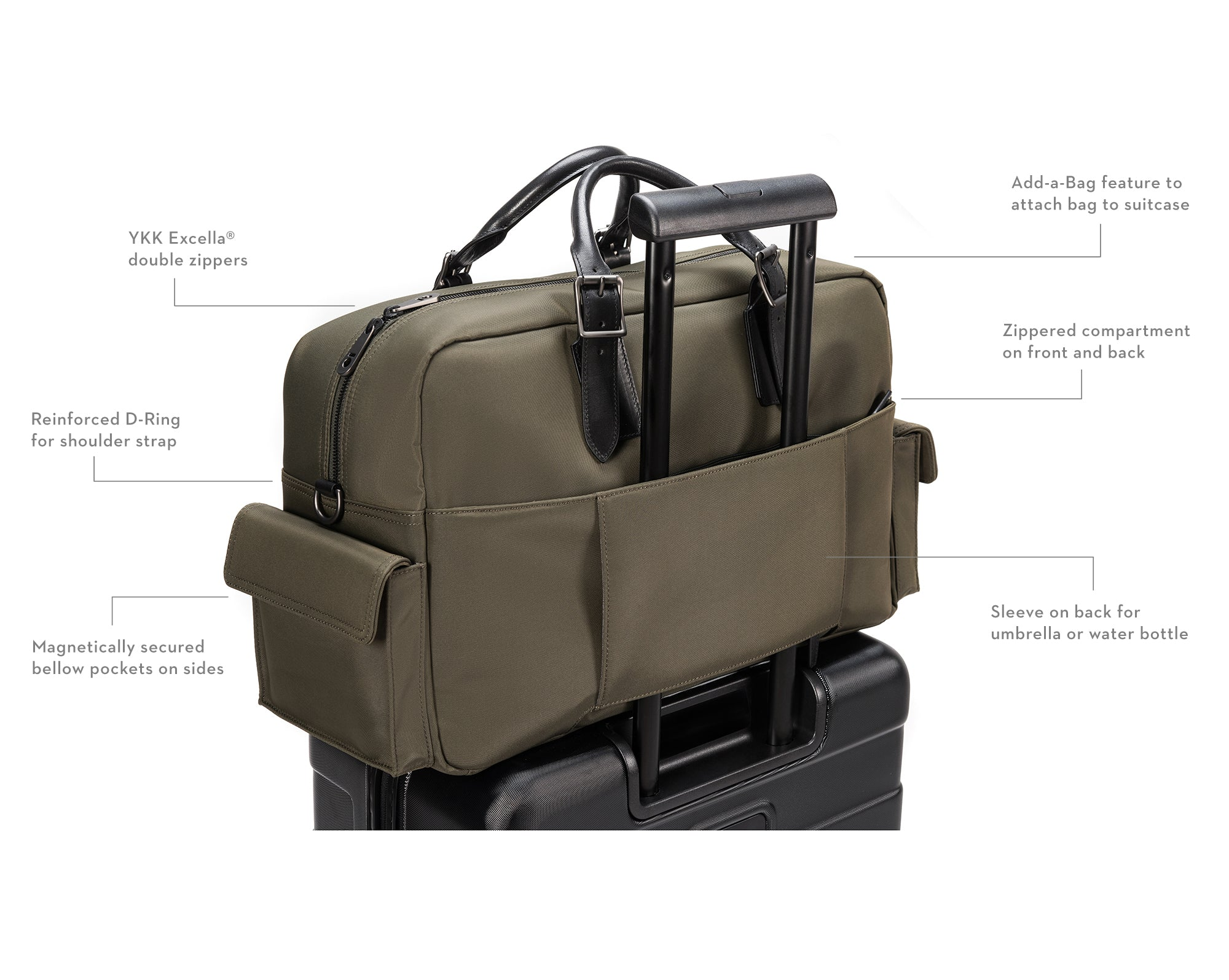 Stuart & Lau Campaign Bag with add-a-bag suitcase feature