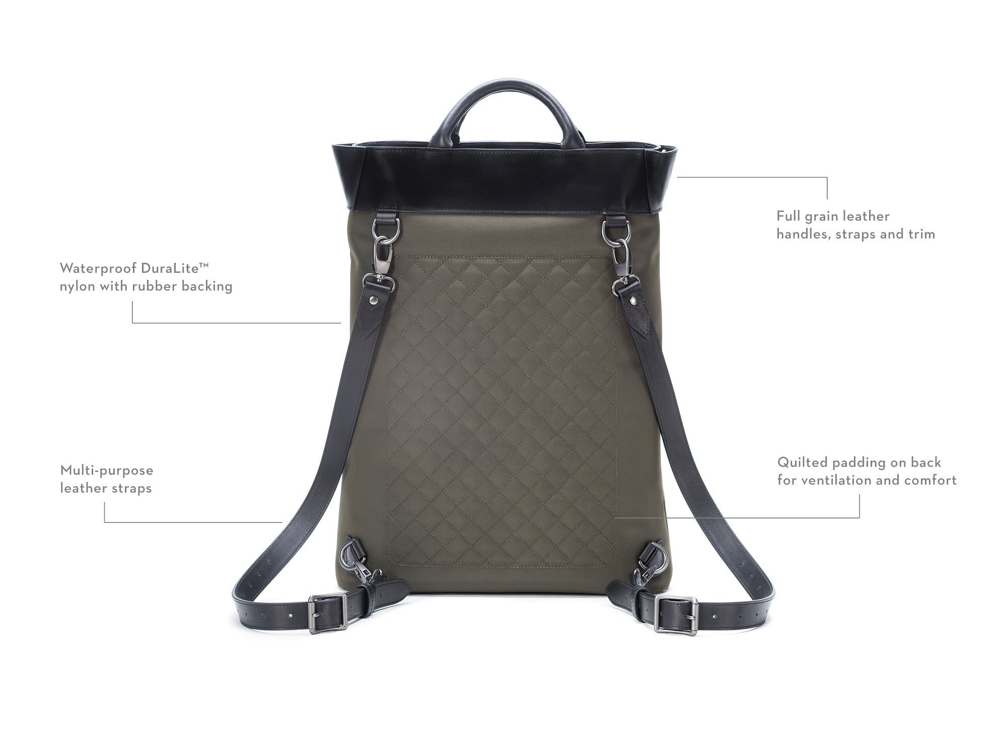 The Clarke Totepack in Olive by Stuart & Lau Luggage