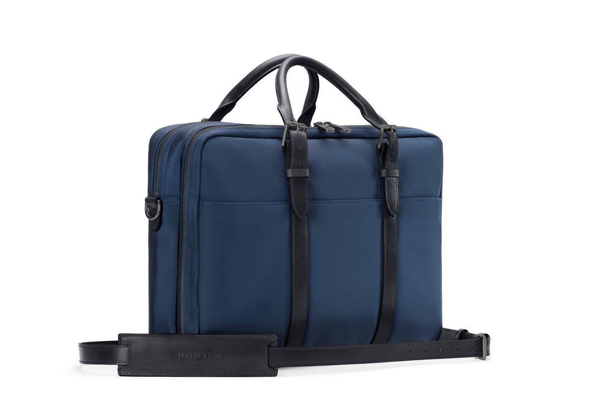 The Cary Briefcase - Double - Navy and Black