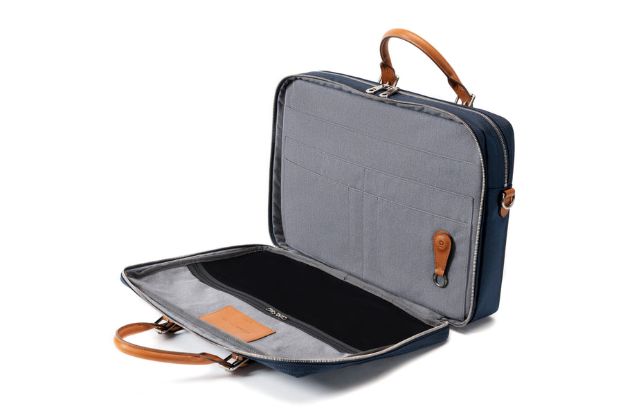 The Cary Briefcase - Double - Navy and Tan