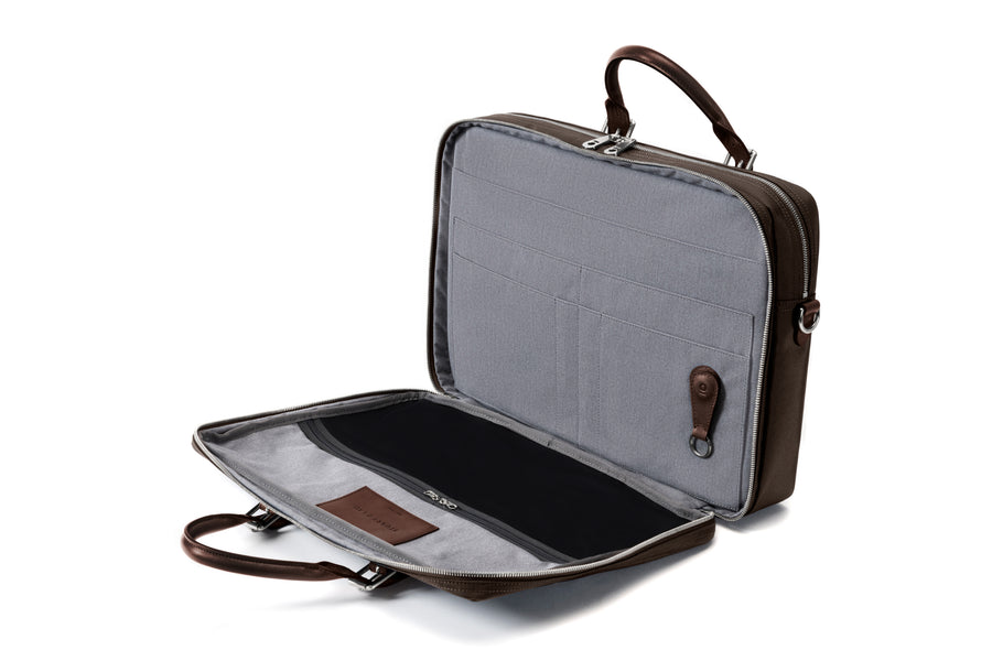 The Cary Briefcase - Double - Tobacco and Chocolate