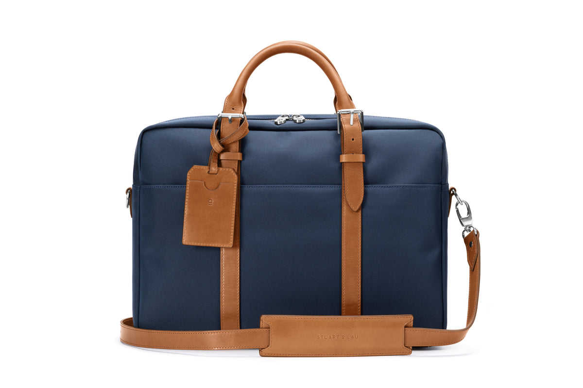 The Cary Briefcase - Single - Navy and Tan