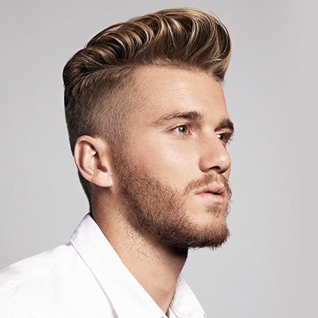 Charlie's fine hair is given strength, texture and non-greasy shine with a mix of Soft Water Pomade and Cream Pomade.