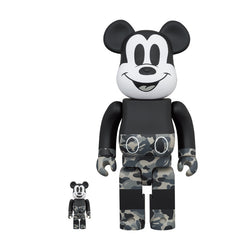 BAPE(R) MICKEY MOUSE 100% & 400% BE@RBRICK (Monotone Ver)
