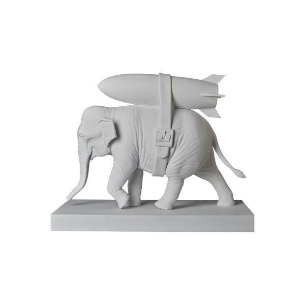 Sync. x Brandalism Banksy Elephant With Bomb Figure - White