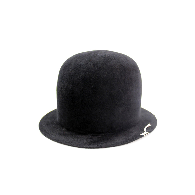 Open Crown Velour Hat - Black