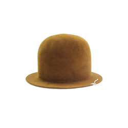 Open Crown Velour Hat - Mustard