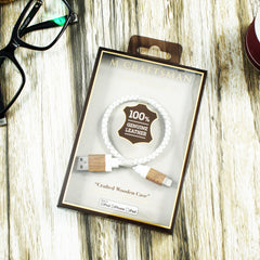 White USB cable 250mm (Genuine Leather + Wooden Case)