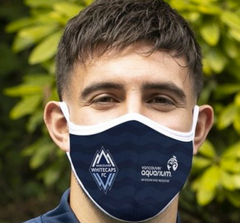 Person wearing reusable face mask