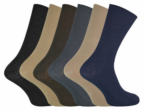 6 Pairs Mens Ladies Non Elastic 80% Cotton Socks