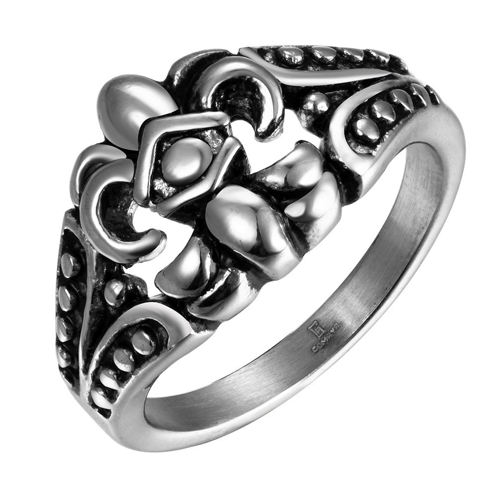 316L Stainless Steel Curved Emblem Men's Ring