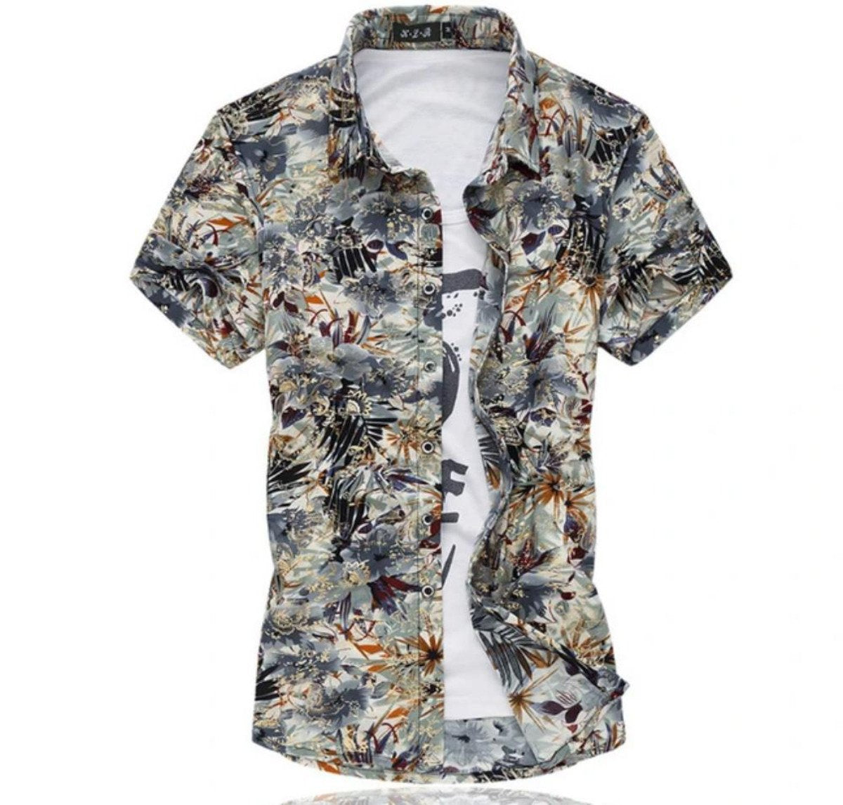 Mens Artistic Print Button Front Short Sleeve Shirt