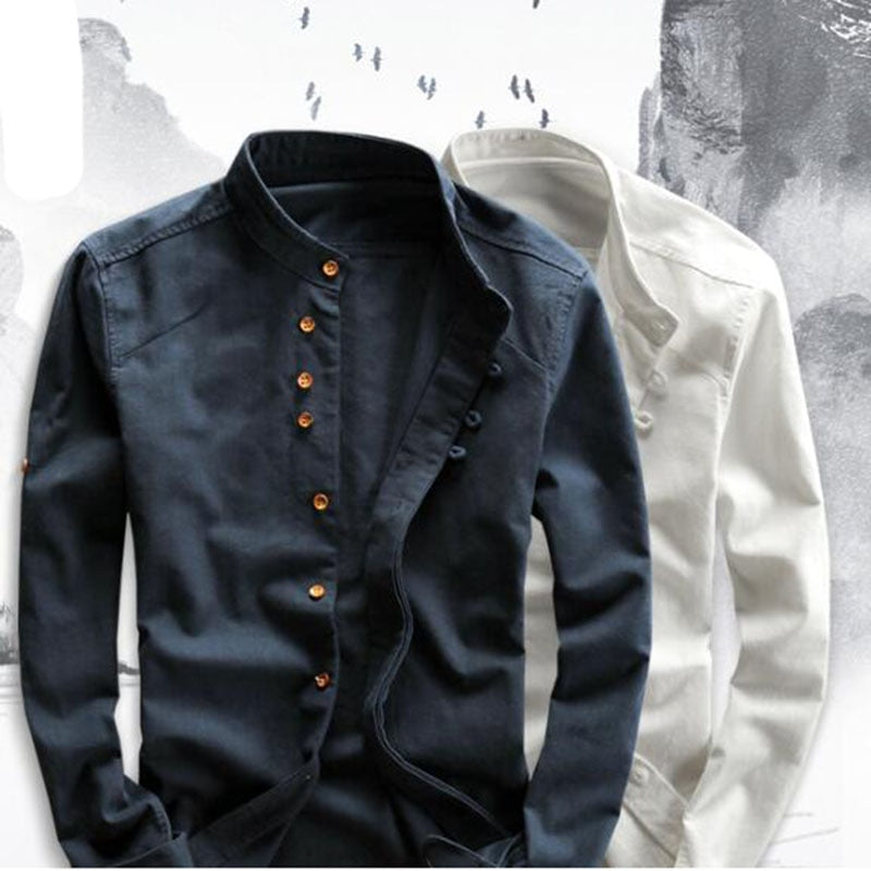 Men's Cotton Linen Shirts Long Sleeve Men Casual Slim Mandarin Collar Shirts High Quality Summer Beach Shirt plus size 6xl