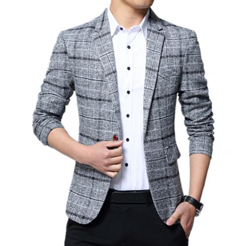 2020 Men Plaid Lapel  Blazer  Brand Clothing Jacket Men's Plaid Suit Jacket Men Blazer Fashion Slim Male Casual Blazers Men
